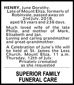 Funeral Notice for June Dorothy Henry