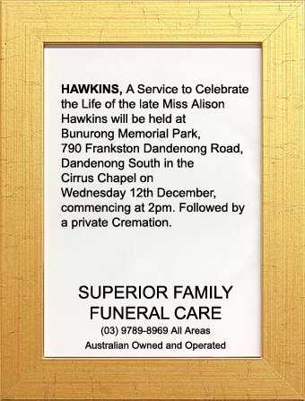 Funeral Notice for Miss Alison Hawkins