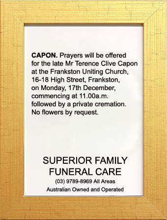 Funeral Notice for Mr Terence Clive Capon