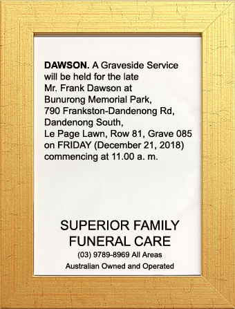 Funeral Notice for Mr Frank Dawson