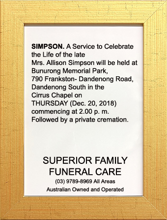 Funeral Notice for Mrs Allison Simpson