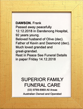 Family Notice for Mr Frank Dawson