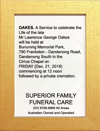 Funeral Notice for Mr Lawrence George Oakes