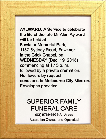 Funeral Notice for Mr Alan Aylward