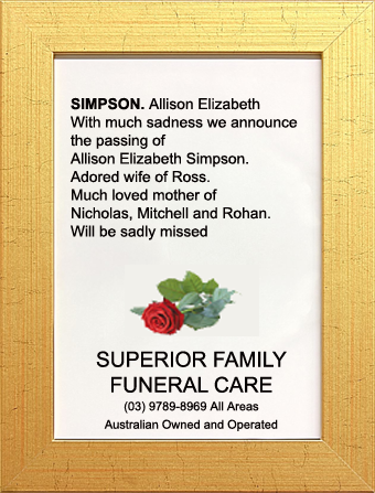 Family Notice for Allison Elizabeth Simpson