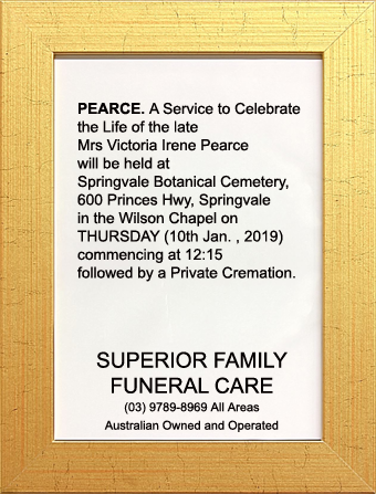 Funeral Notice for Mrs Victoria Irene Pearce