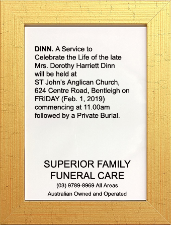 Funeral Notice for Mrs Dorothy Harriet Dinn