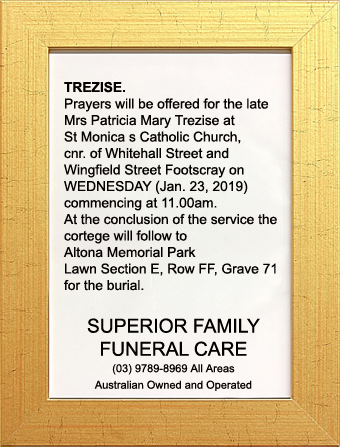 Funeral Notice for Mrs Patricia Mary Trezise