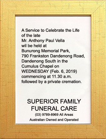 Funeral Notice for Mr. Anthony Paul Vella