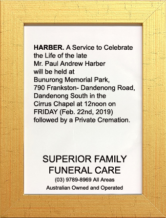 Funeral Notice for Mr. Paul Andrew Harber