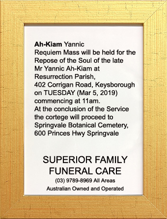 Funeral Notice for Mr Yannic Ah-Kiam