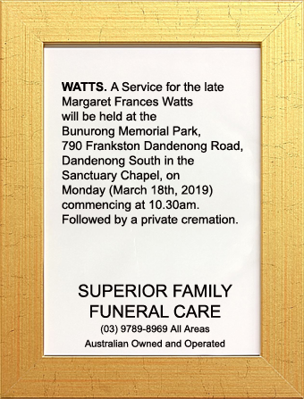 Funeral Notice for Margaret Frances Watts
