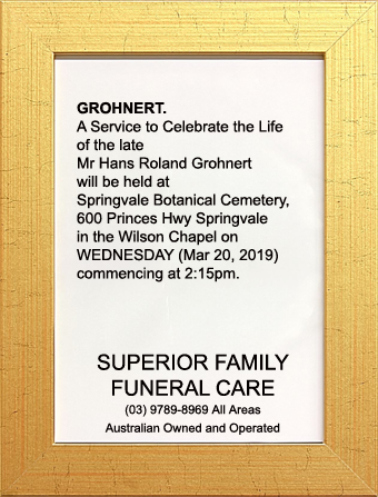 Funeral Notice for Mr Hans Roland Grohnert