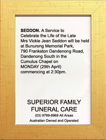 Funeral Notice for Mrs Vickie Jean Seddon
