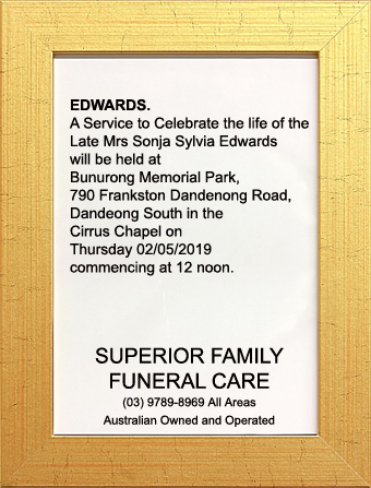 Funeral Notice for Mrs Sonja Sylvia Edwards