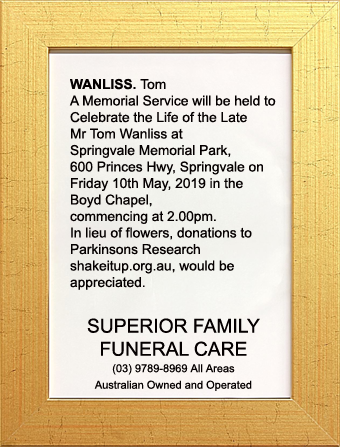 Funeral Notice for Mr Tom Wanliss