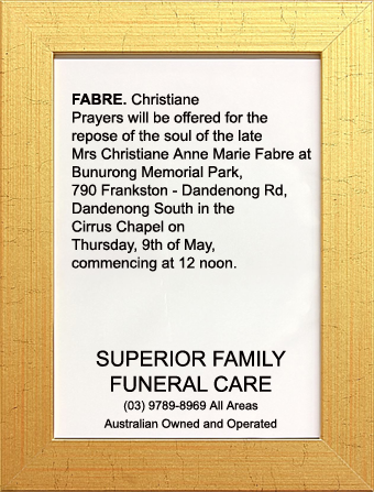 Funeral Notice for Mrs Christiane Anne Marie Fabre
