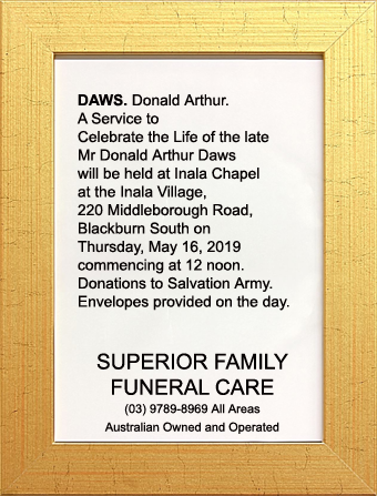 Funeral Notice for Mr Donald Arthur Daws