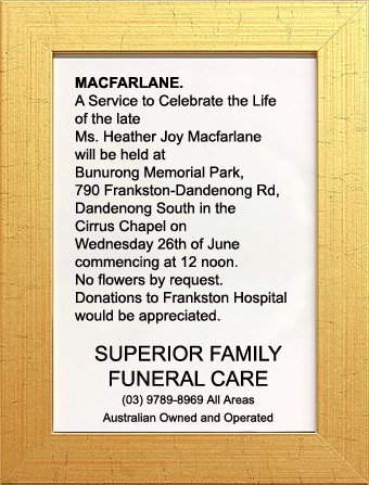 Funeral Notice for Ms. Heather Joy Macfarlane