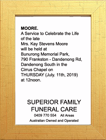 Funeral Notice for Mrs Kay Stevens Moore