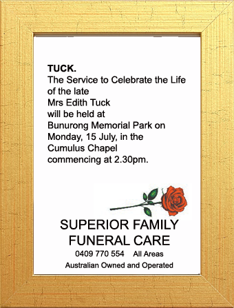 Funeral Notice for Mrs Edith Tuck