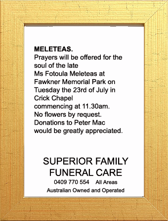 Funeral Notice for Ms Fotoula Meleteas