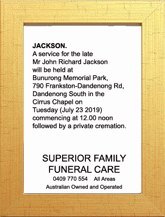 Funeral Notice for Mr John Richard Jackson
