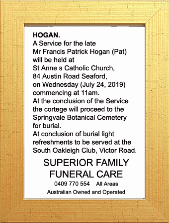 Funeral Notice for Mr Frances Patrick Hogan (Pat)