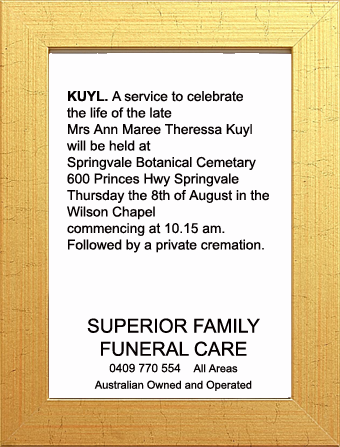Funeral Notice for Mrs Ann Maree Theressa Kuyl