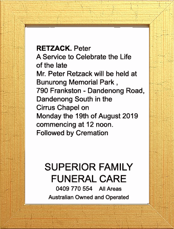 Funeral Notice for Peter Retzack