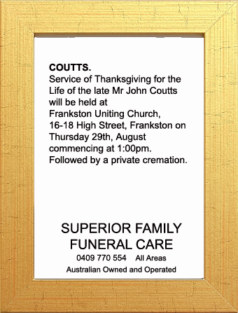Funeral Notice for Mr John Coutts