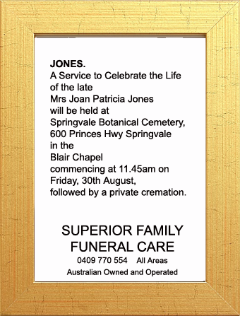 Funeral Notice for Mrs Joan Patricia Joans