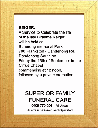 Funeral Notice for Graeme Reiger