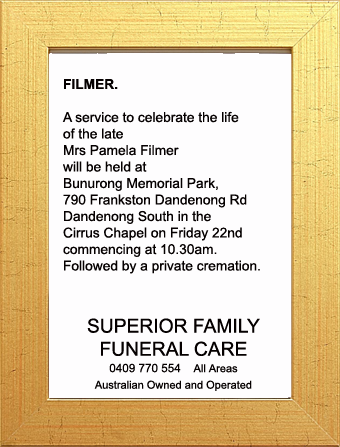Funeral Notice for Mrs Pamela Filmer
