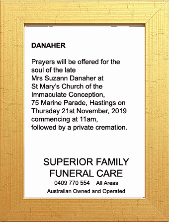 Funeral Notice for Mrs Suzann Danaher