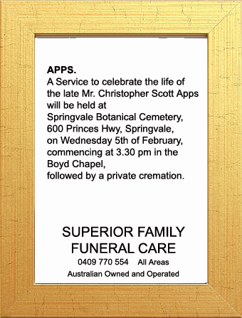 Funeral Notice for Mr. Christopher Scott Apps
